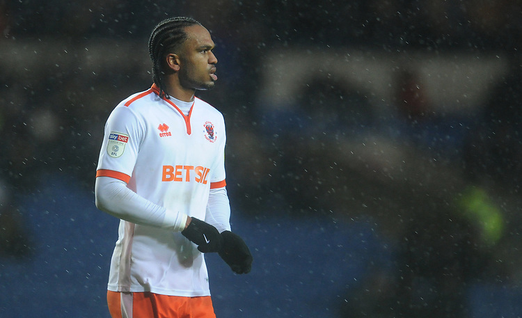 Blackpool's Nathan Delfouneso<br /> <br /> Photographer Kevin Barnes/CameraSport<br /> <br /> The EFL Sky Bet League One - Oxford United v Blackpool - Saturday 15th December 2018 - Kassam Stadium - Oxford<br /> <br /> World Copyright © 2018 CameraSport. All rights reserved. 43 Linden Ave. Countesthorpe. Leicester. England. LE8 5PG - Tel: +44 (0) 116 277 4147 - admin@camerasport.com - www.camerasport.com