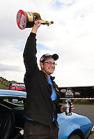 Jul, 22, 2012; Morrison, CO, USA: NHRA stock eliminator driver Michael Brand celebrates after winning the Mile High Nationals at Bandimere Speedway. Mandatory Credit: Mark J. Rebilas-