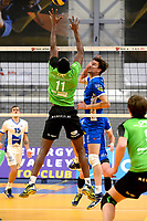 GRONINGEN - Volleybal, Abiant Lycurgus - SSS, Alfa College , Eredivisie , seizoen 2017-2018, 02-12-2017 Lycurgus speler Wytze Kooistra slaat de bal over SSS speler Raygid Isenia