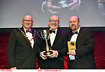 16-6-2019:  Cathal O'Donoghue- Eamon DeValera- Michael Collins-a Musical Drama-Thurles Musical Society, Tipperary,  winner of the Best Actor in a Supporting Role award at the annual AIMS (Association of Irish Musical Societies) in the INEC Killarney at the weekend receiving the trophy from Seamus Power, President, AIMS left and Rob Donnelly, Vice-President.<br /> Photo: Don MacMonagle - macmonagle.com<br /> <br /> repro free photo from AIMS<br /> <br /> AIMS PRESS RELEASE: There was plenty of glitz and glamour in Killarney on Saturday night as The Association of Irish Musical Societies has its Annual Awards Ceremony in Killarney. Over 1,500 people could be heard over the Kerry mountains as the winners were announced by MC Fergal D'Arcy. Many societies were double winners on the night including UCD Musical Society, Dublin were dancing all the way to the trophies winning Best Choreography and Best Choreographer for Leah Meagher for Cabaret and  Tullamore Musical Society who took their moment as Chris Corroon won Best Male Singer for his sinful performance as Henry Jekyll in Jekyll &Hyde and also Director Paul Norton who'd plenty to celebrate picking Best Director for  the same show. The moment was once again taken by Jekyll&Hyde by Dùn Laoighaire Musical&Dramatic Society as Kevin Hartnett took up Best Male Singer in the Sullivan category.Nenagh Youth Musical Society raised their voices high and took home Best Ensemble. It was a superior night for Enniscorthy Musical Society by winning Best Comedienne for Jennifer Byrne as Mother Superior and Best Technical too. Portlaoise Musical Society rose to the top by taking home Best Overall Show in the Gilbert section for their stunning production of Titanic. Oyster Lane Theatre Group, Wexford flew their flag high taking home Best Overall Show in the Sullivan Section for their breathtaking production of Michael Collins-a Musical Drama.<br /> Other winners on the night included Best Comedian for Ronan Walsh as Officer Lockstock in Urinetown for Trim Musical