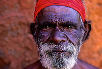 ABORIGINAL ELDER AT AYERS ROCK,Uluru national Park,Central Australia