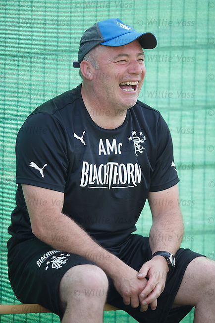 Ally McCoist laughing at training