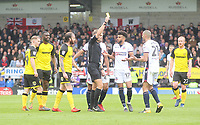 Bolton Wanderers Darren Pratley is shown the yellow card by Ref Graham Scott<br /> <br /> Photographer Mick Walker/CameraSport<br /> <br /> The EFL Sky Bet Championship - Burton Albion v Bolton Wanderers - Saturday 28th April 2018 - Pirelli Stadium - Burton upon Trent<br /> <br /> World Copyright &copy; 2018 CameraSport. All rights reserved. 43 Linden Ave. Countesthorpe. Leicester. England. LE8 5PG - Tel: +44 (0) 116 277 4147 - admin@camerasport.com - www.camerasport.com