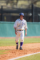 Hunter Lee (2) of the High Point Panthers takes his lead off of third base against the LIU-Brooklyn Blackbirds at Willard Stadium on March 8, 2015 in High Point, North Carolina.  The Panthers defeated the Blackbirds 9-0.  (Brian Westerholt/Four Seam Images)