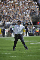 15 September 2012:  Penn State coach Bill O'Brien celebrates after a first half touchdown. The Penn State Nittany Lions defeated the Navy Midshipmen 34-7 at Beaver Stadium in State College, PA..
