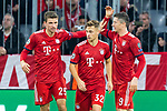 07.11.2018, Allianz Arena, Muenchen, GER, UEFA CL, FC Bayern Muenchen (GER) vs AEK Athen (GRC), Gruppe E, UEFA regulations prohibit any use of photographs as image sequences and/or quasi-video, im Bild Jubel nach dem Tor zum 2-0 durch Robert Lewandowski (FCB #9) mit Thomas M&uuml;ller (FCB #25) Joshua Kimmich (FCB #32) <br /> <br /> Foto &copy; nordphoto / Straubmeier