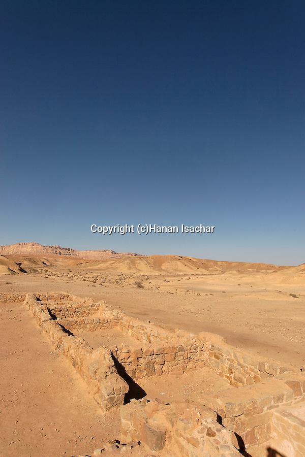 Israel, Negev. Ruins of the Nabatean Khan Saharonim in Ramon crater