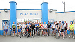 Eoin McCartney pictured with all his cycling friends at pairc Mhuire in Ardee after cycling from Melbourne Austrailia. Photo: www.colinbellphotos.com