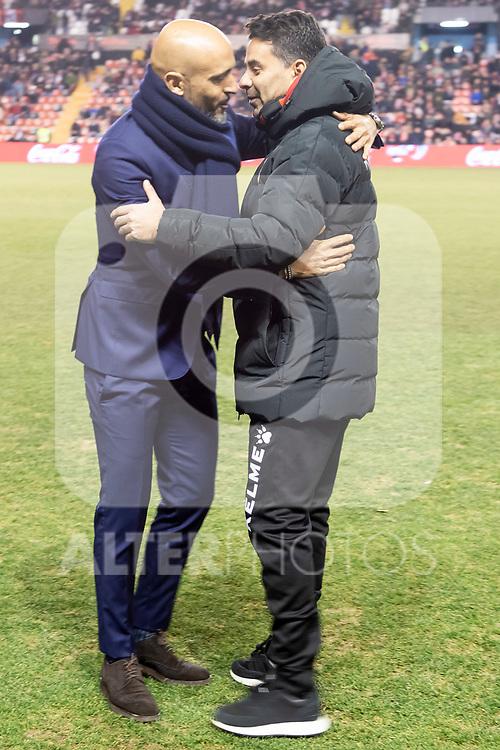 Coach Miguel Angel Sanchez Munoz of Rayo Vallecano and coach Miguel Cardoso of Celta de Vigo during La Liga match between Rayo Vallecano and Celta de Vigo in Madrid, Spain. January 11, 2019. (ALTERPHOTOS/Borja B.Hojas)
