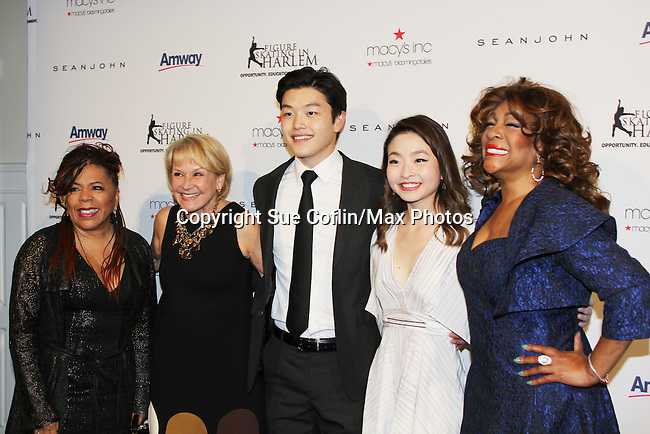 Host Mary Wilson of the Supremes (R) poses with singer Valerie Simpson (of Ashford & Simpspn) (L) and Andrea Joyce and National Champion skaters Alex and Maia Shibutani at The 11th Annual Skating with the Stars Gala - a benefit gala for Figure Skating in Harlem hosted by Mary Wilson of the Supremes on April 11, 2016 on Park Avenue in New York City, New York with many Olympic Skaters and Celebrities. (Photo by Sue Coflin/Max Photos)