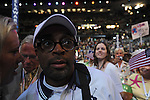 Spike Lee on the floor of the Democratic National Convention at the Pepsi Center in Denver, Colorado on August 25, 2008.