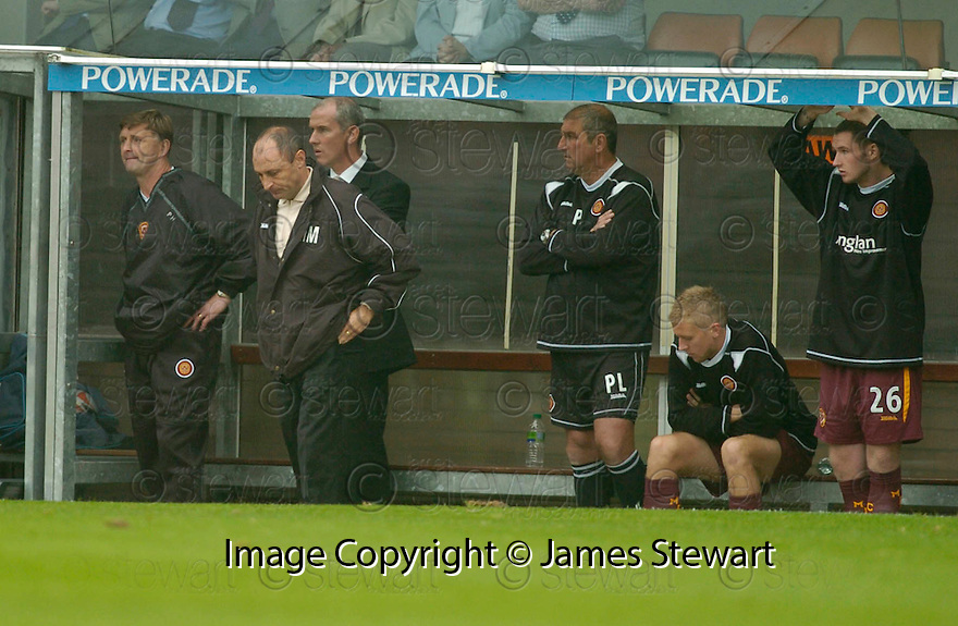 23/09/2006       Copyright Pic: James Stewart.File Name :sct_jspa15_dundee_utd_v_motherwell.DOOM AND GLOOM ON THE MOTHERWELL BENCH AFTER THEY LOSE THE LEAD....Payments to :.James Stewart Photo Agency 19 Carronlea Drive, Falkirk. FK2 8DN      Vat Reg No. 607 6932 25.Office     : +44 (0)1324 570906     .Mobile   : +44 (0)7721 416997.Fax         : +44 (0)1324 570906.E-mail  :  jim@jspa.co.uk.If you require further information then contact Jim Stewart on any of the numbers above.........