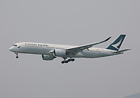 A Cathay Pacific Airbus A350-941 Registration B-LRK landing on Runway 25R at Hong Kong Chek Lap Kok International Airport on 6.4.19 arriving from Melbourne Airport, Australia.