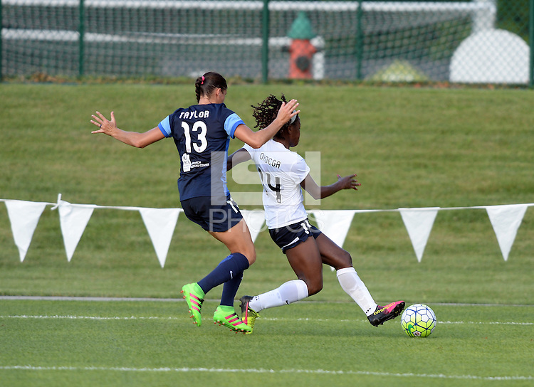Kansas City, MO - Saturday July 16, 2016: Francisca Ordega, Brittany Taylor during a regular season National Women's Soccer League (NWSL) match between FC Kansas City and the Washington Spirit at Swope Soccer Village.