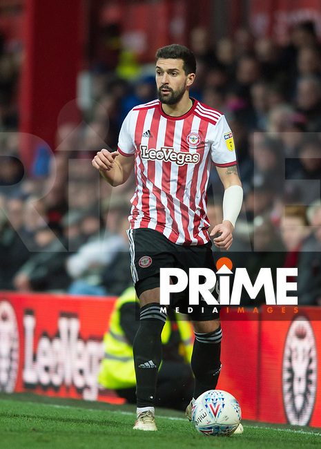 Brentford Yoann Barbet during the Sky Bet Championship match between Brentford and West Bromwich Albion at Griffin Park, London, England on 16 March 2019. Photo by Andrew Aleksiejczuk / PRiME Media Images.