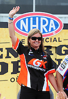 Apr. 29, 2012; Baytown, TX, USA: NHRA pro stock driver Erica Enders during the Spring Nationals at Royal Purple Raceway. Mandatory Credit: Mark J. Rebilas-