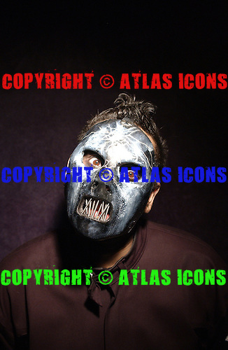 (#2) Paul Gray – bass guitar, backing vocals,.Slipknot Studio Portrait Session In Desmoines Iowa in 2001.Photo Credit: Eddie Malluk/Atlas Icons.com