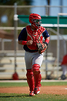 GCL Cardinals catcher Ivan Herrera (32) backs up a play during a game against the GCL Marlins on August 4, 2018 at Roger Dean Chevrolet Stadium in Jupiter, Florida.  GCL Marlins defeated GCL Cardinals 6-3.  (Mike Janes/Four Seam Images)