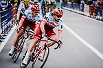 Marco Haller and Marcel Kittel (GER) Team Katusha Alpecin in action during the 2018 Saitama Criterium, Japan. 4th November 2018.<br /> Picture: ASO/Pauline Ballet | Cyclefile<br /> <br /> <br /> All photos usage must carry mandatory copyright credit (&copy; Cyclefile | ASO/Pauline Ballet)