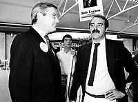 Dorval (Qc) CANADA - August 24, 1984 File Photo- EXCLUSIVE-<br /> Michael Wilson (L) and Nick Auf Der Maur (R) help<br /> Bob Layton (not in the picture) campaigning as the  Progressive-Conservative candiate for Lachine in the 1984 federal election.