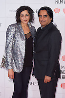 Meera Syal and Sanjeev Bhaskar arriving for the Moet British Independent Film Awards 2014, London. 07/12/2014 Picture by: Alexandra Glen / Featureflash