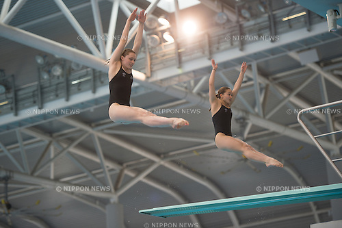 (L-R) Georgia Sheehan & Naomi Gowlett (AUS) in the Synchronized 3m Springboard Women competition of the FINA Diving Grand Prix 2015 (Singapore) at the OCBC Aquatic Centre on 17 Oct 2015, in Singapore. They took 3rd position. (Photo by Haruhiko Otsuka/Aflo)