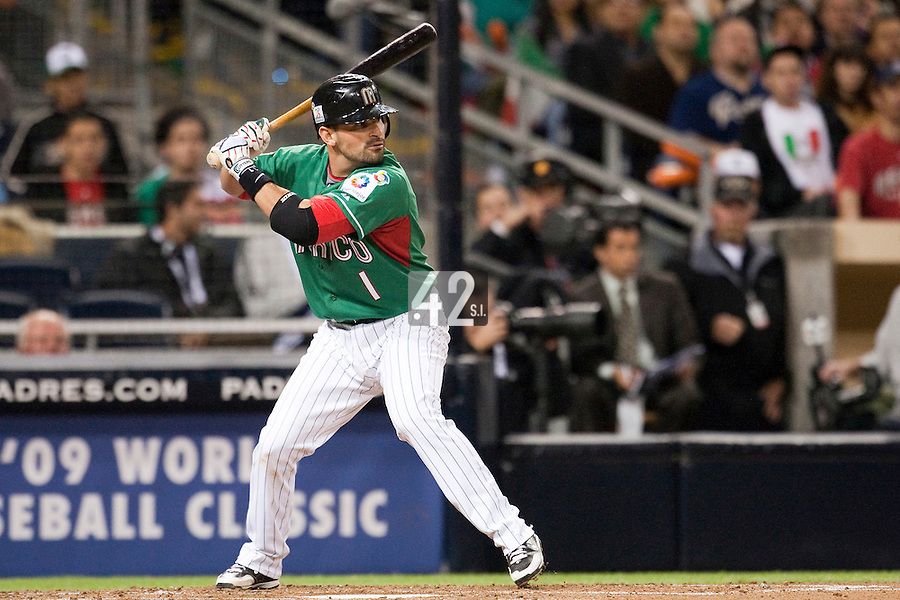 15 March 2009:  #1 Augie Ojeda of Mexico is seen at bat during the 2009 World Baseball Classic Pool 1 game 2 at Petco Park in San Diego, California, USA. Korea wins 8-2 over Mexico.
