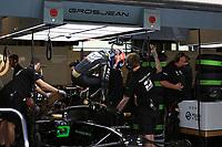 3rd December 2019; Yas Marina Circuit, Abu Dhabi, United Arab Emirates; Pirelli Formula 1 tyre testing sessions; Haas F1 Team, Romain Grosjean climbs out of his car