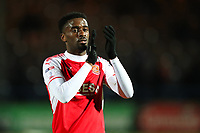 Jordy Hiwula of Fleetwood Town claps the fans after  the Sky Bet League 1 match between Rochdale and Fleetwood Town at Spotland Stadium, Rochdale, England on 20 March 2018. Photo by Thomas Gadd.