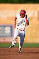 Auburn Doubledays catcher Luis Vilorio (4) running the bases during a game against the Williamsport Crosscutters on June 25, 2016 at Falcon Park in Auburn, New York.  Auburn defeated Williamsport 5-4.  (Mike Janes/Four Seam Images)