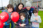 Launching red balloons in aid of Glow Heart for Crumlin  in St Mary's Cathedral Killarney on saturday were l-r: Conor, Palm, Liam dennehy, Stephen Quinn and Ryan dennehy Fossa