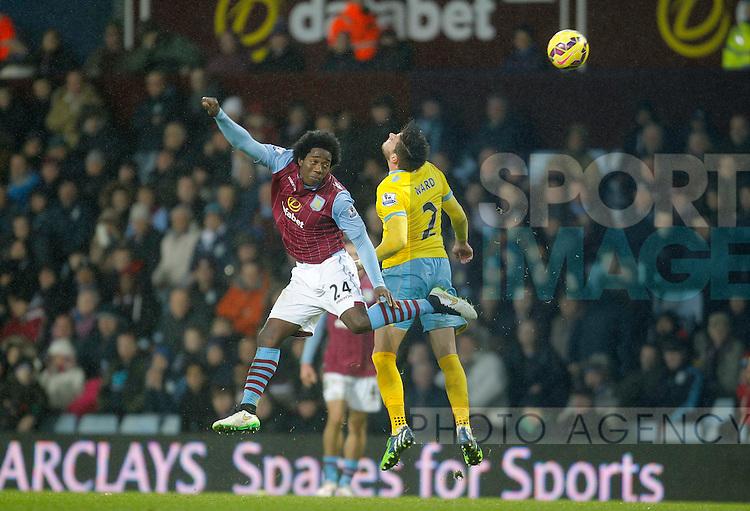 Carlos Sanchez of Aston Villa competes with Joel Ward of Crystal Palace - Barclays Premiership Football - Aston Villa v Crystal Palace - Villa Park  Birmingham - Season 14/15 - 01/01/2015 <br /> Photo: Malcolm Couzens/Sportimage