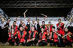 The art of taiko, Japanese percussions for Yukiya Arashiro (JPN), Vincenzo Nibali (ITA), Marcel Kittel (GER), Matteo Trentin (ITA) and Fumiyuki Beppu (JPN) at the media day before the 2018 Saitama Criterium, Japan. 3rd November 2018.<br /> Picture: ASO/Pauline Ballet | Cyclefile<br /> <br /> <br /> All photos usage must carry mandatory copyright credit (© Cyclefile | ASO/Pauline Ballet)