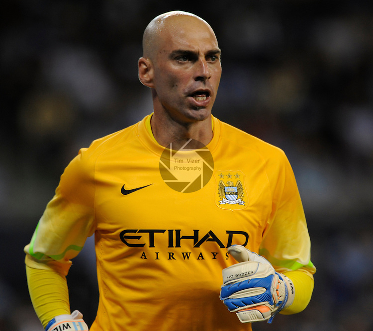 Manchester City goalkeeper Willy Caballero. Manchester City defeated Sporting KC 4-1 in an international friendly game played at Sporting Park in Kansas City, Kansas on Wednesday July 23, 2014.