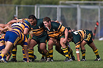 Thomas Short & Sione Anga'aelangi ready themselves for the scrum engagement.  CMRFU Counties Power Premier Club Rugby game between Patumahoe & Pukekohe played at Patumahoe on April 12th, 2008..The halftime score was 10 all with Pukekohe going on to win 23 - 18.
