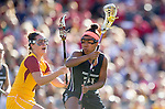 Los Angeles, CA 02/09/13 - Haleigh Dalmass (USC #8) and Jess Carroll  (Northwestern #21) in action during the Northwestern vs USC NCAA Women Lacrosse game at the Los Angeles Colliseum.