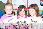 SPELL: Sarah Faolan, Siobha?n Ni? Chuanaigh agus Ro?isi?n Ni? Bhrosnacha?in from Junior Infants in Scoil an Fhirtearaigh, Ballyferriter learning to spell on their first week of school.