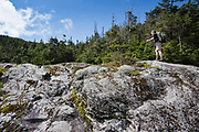 A hiker ascending the Ammonoosuc Ravine Trail in Sargent's Purchase in the New Hampshire White Mountains during the summer months. Opened in the fall of 1915 by the A.M.C, this trail travels from the Base Station Road, through Ammonoosuc Ravine, terminating at Crawford Path, next to Lakes of the Clouds Hut.