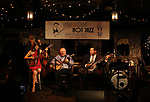 Cynthia Sayer, Eddy Davis and Blind Boy Paxton performs at the New York Hot Jazz Festival own September 30, 2018 at The McKittrick Hotel in New York City.
