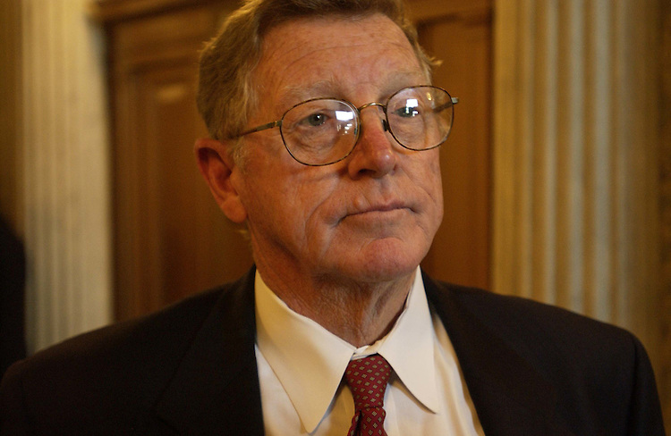 7/6/04.INDECENCY--Sen. Conrad Burns, R-Mont., talks to a reporter about legislation on indecency..CONGRESSIONAL QUARTERLY PHOTO BY SCOTT J. FERRELL