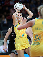 20.09.2012 Australian Catherine Cox in action during the second netball test match between the Silver Ferns and the Australian Diamonds played at Vector Arena in Auckland. Mandatory Photo Credit ©Michael Bradley.