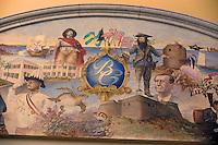 Iles Bahamas / New Providence et Paradise Island / Nassau: British Colonial Hilton l'hotel ou furent tournés de nombreux James Bond détail de la fresque du hall