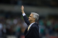Mexico City, Mexico -Tuesday, March 26 2013: USA ties Mexico 0-0 during World Cup Qualifying at Estadio Azteca. Sunil Gulati waves to the USA fans.
