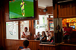 Peruvian football fans watch their national team's Russia 2018 World Cup Group C match against France in a bar. Irun (Basque Country). June 21, 2018. (Gari Garaialde / BostokPhoto)