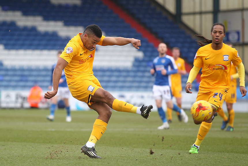 Preston North End's Chris Humphrey gets a shot on goal<br /> <br /> Photographer Mick Walker/CameraSport<br /> <br /> Football - The Football League Sky Bet League One - Oldham Athletic v Preston North End - Saturday 28th February 2015 - SportsDirect.com Park - Oldham<br /> <br /> &copy; CameraSport - 43 Linden Ave. Countesthorpe. Leicester. England. LE8 5PG - Tel: +44 (0) 116 277 4147 - admin@camerasport.com - www.camerasport.com