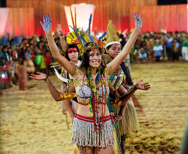 Amirela of the Guarani Kaywoa people in front as the Indigenous people put their favourites for the Games beauty contest. The first World Indigenous Games in Palmas, Brazil. Some 2,000 athletes from 24 Brazilian indigenous ethnic groups and 23 countries entered the event. The Indigenous Games broke up the tradition of sports only and put up a beauty contest for all the ethnicitys in the Games arena.The Games have opened this weekend, October 2015.<br /> October 2015<br /> CAP/CAM<br /> &copy;Andre Camara/Capital Pictures
