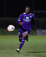 20191125 - WOLVERTEM: Anderlecht's Jeremy Doku is in action during the Belgian Elite U21 league football match between RSC Anderlecht U21 and KV Mechelen U21 on Monday 25th of November 2019 at F. Lathouwersstadion, Wolvertem Belgium. PHOTO: SEVIL OKTEM | SPORTPIX.BE