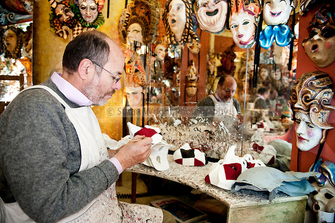 Alberto Sarria, Venetian artisan mask maker in his workshop at San Polo in Venice, Italy