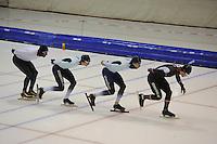 SCHAATSEN: HEERENVEEN: IJsstadion Thialf, 04-02-15, Training World Cup, Bart Swings (BEL), Alexej Baumgärtner (GER), Haralds Silovs (LAT), ©foto Martin de Jong
