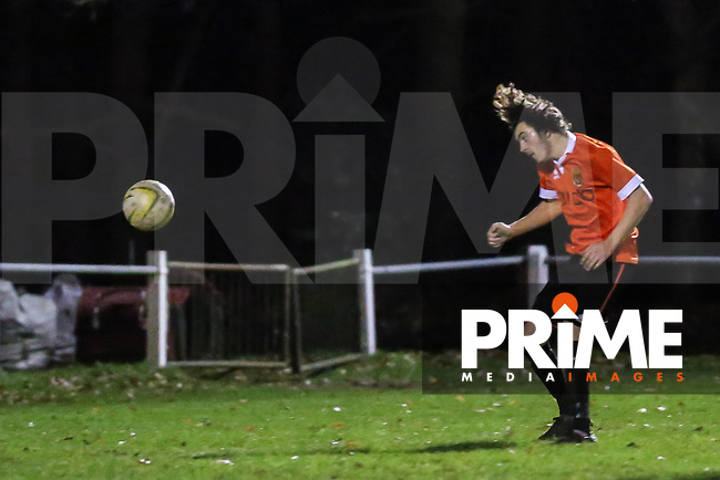 Mike Draycott of Ampthill Town scores his team's second goal against Flitwick Town to make it 2-1 during the Beds Senior Trophy Quarter Final at Ampthill Stadium, Bedfordshire, England on 12 December 2015. Photo by David Horn/PRiME Media Images